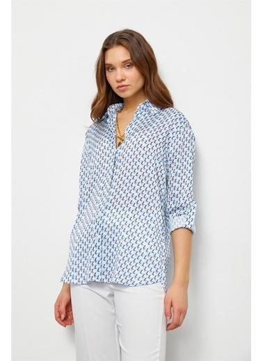 Setre Mavi Geometrik Desen Gömlek Mavi
